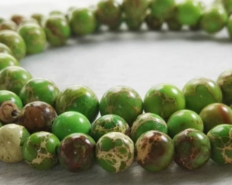 6mm 8mm 10mm Natural Sea Sediment Jasper Beads , Green  Round Natural Spacer Beads , Impression Jasper Beads , Imperial Impression Stone