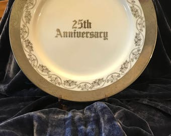 Twenty Fifth Wedding Anniversary Plate  White Silver Trim