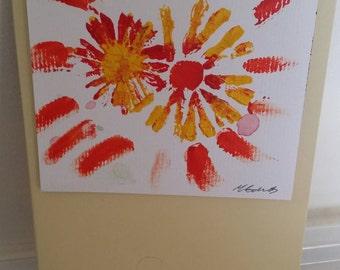 Handmade Greetings Card of Summer Coloured Flowers
