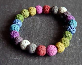 Spiritual Lava Rock Healing Diffuser Yoga Bracelet Light Weight Dyed Rainbow