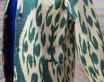 Ikat cotton adras chapan jacket from Uzbekistan and inside is silk It is two said wearable jacket