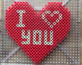 Valentine's Day heart perler beads (glow in the dark)