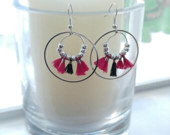 Silver hoop earrings - PomPoms fuscia or blue - hand made jewelry - gift idea women DIY