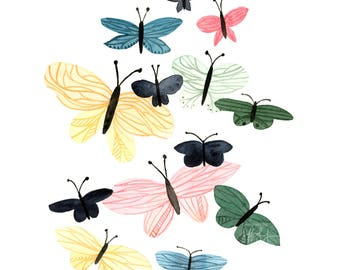 Butterfly Wall Art, Watercolor Butterfly Wall Decor, Giclee Fine Art Print, Colorful Watercolor Painting, Archival Art Print, Insect Art