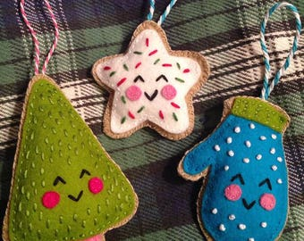 Sugar Cookie Trio Christmas Ornaments