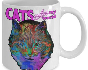 Cat Mug Psychedelic - Cat Lovers Gift - Crazy Cat Lady - Cats Rock - Love Cats Lover - Trippy Art - Coffee Tea White Ceramic Cup 11oz 15oz