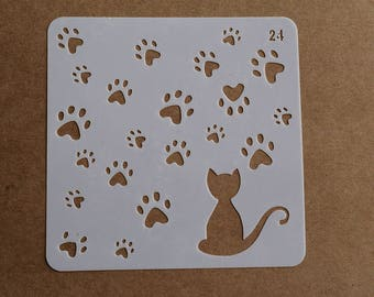 Cat paws stencil, paw prints Bullet Journal Stencil,Planner Accessory,scrapbooking stencil,5''x5''