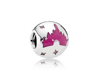 Authentic Pandora Hong Kong Disney Parks Exclusive Disneyland Pink Gem Castle Silver Charm NEW