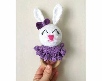Toys for 1 year old etsy bunny rattle teething rattle teething toy amigurumi toy toy for 1 year negle Images