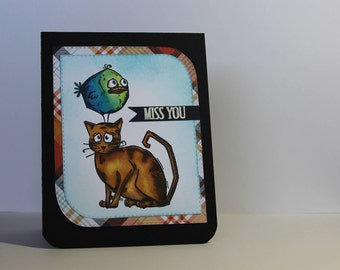 "Handmade Tim Holtz Crazy Cat/Bird Miss You Greeting Card - 4 1/4"" x 5 1/2"""
