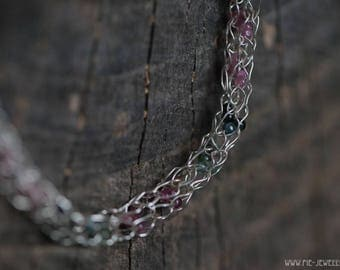 Silver wire necklace with tourmaline