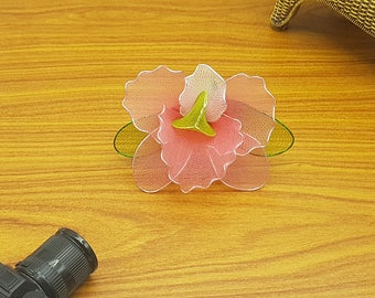 Pink flower lapel pin