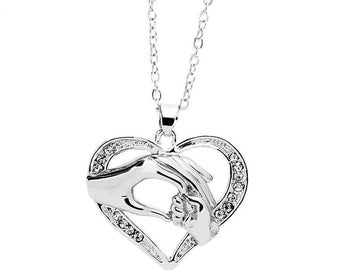 Heart Necklace - Diamond Necklace - Mother and Child Necklace - Family Necklace - Silver Necklace - 925 Silver Necklace