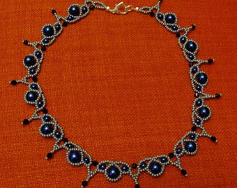 Silver blue and black lace necklace