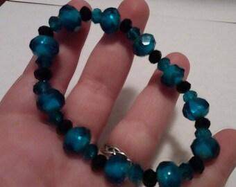 Handmade Teal and Black Beaded Bracelet