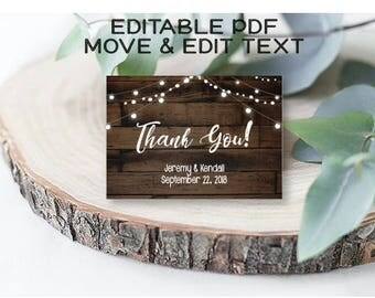 Rustic thank you card template Vintage wedding thank you cards Country thank you note editable Rustic wedding thank you printable - DIGITAL