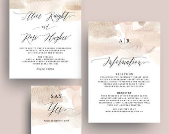Soft Blush Watercolor Wash Wedding Invitation Printable Template