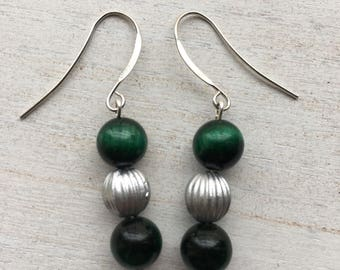 Emerald Beaded Drop Earrings