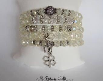 Bracelet set czech crystal glass, stretch bracelet, adjustable bracelet, crystal bracelet with pendant