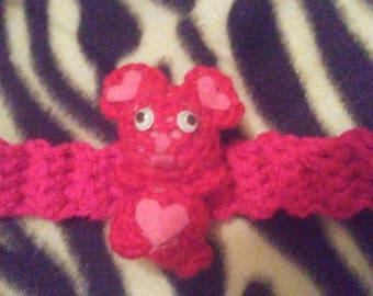 Crocheted bear bracelet