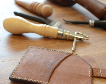 Handmade Kangaroo Leather Card Wallet - Tan