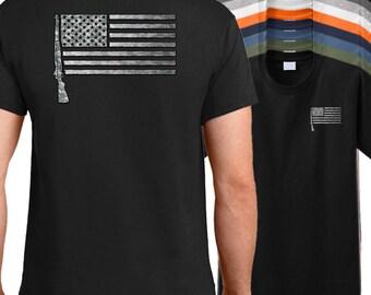 USA M1 Garand Rifle Flag Shirt - M1 garand shirt, military firearm shirt, American rifle shirt, M1 shirt, Garand shirt.