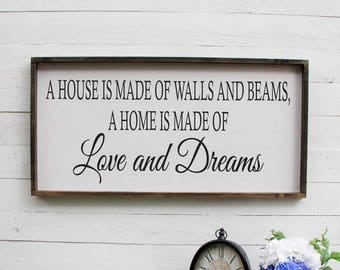 A House Is Made of Walls and Beams Sign Rustic Foyer Sign Wooden Entryway Sign Rustic Wooden Sign Foyer Wooden Sign Entryway Front Door Sign