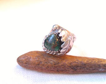 Green Turquoise and Silver Navajo Style Ring- 70's Rings - Southwest Jewelry - Native American Style - Larger Rings - Silver Jewelry - Boho