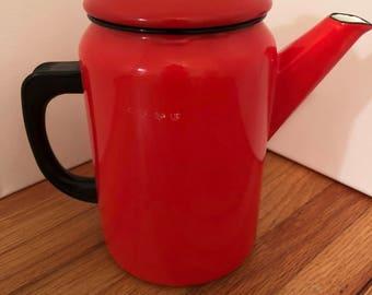 Vintage Red Enamelware Tea Kettle