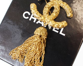 CHANEL CC Logos Pin Brooch Gold-Tone 93 A France Vintage Authentic #7938 M