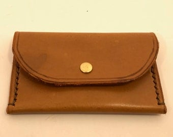 Handstitched light brown leather card wallet, personalised wallet - gift for him.
