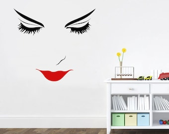 Wall Decal Window Sticker Beauty Salon Woman Face Eyelashes Lashes Eyebrows Brows t1