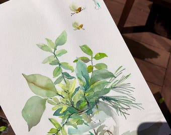 Plant water colour painting