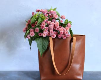 Medium leather tote bag - Tobacco leather Tote - Hand stitched shopper bag