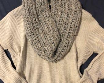 Long crochet ribbed cowl scarf