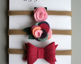 Flowers and bow on headband or elastic - baby and kid - felted wool