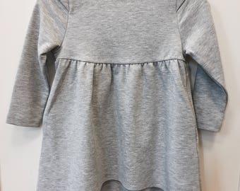 Cotton dress, grey melange