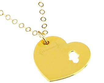 LUCKY HEART PENDANT Necklace | Hamsa Hand Pendant | Modern Gold Jewelry by Hollamama | Heart Pendant