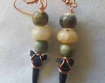 Handmade wire wrapped Shark tooth, Agate and ceramic bead earrings