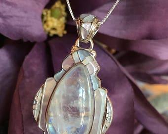 Elegant Handmade Moonstone & Abalone Pendant