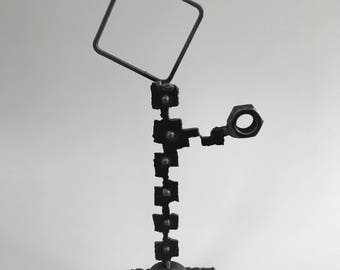 "Metal sculpture- ""The Direction"" --Welded Figure --Solid Steel --Signed 'one of a kind' Sculpture"
