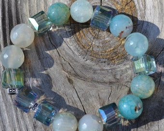 Crystal and Faceted Blue Fire Agate
