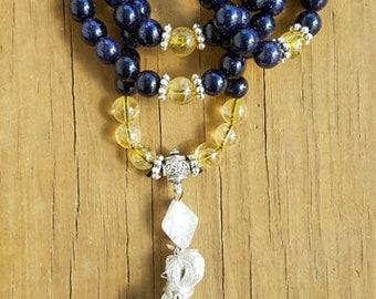 Abundance and Glory Mala, Blue Sandstone, Citrine, Prayer Beads, 88 infinity mala