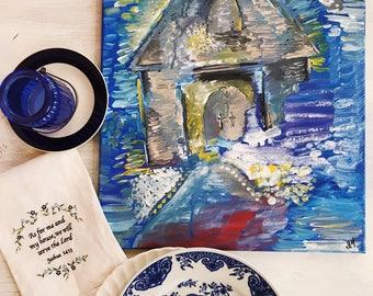 Blue Church Acrylic Painting