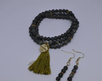 Russian Serpentine Bracelet & Earrings Set