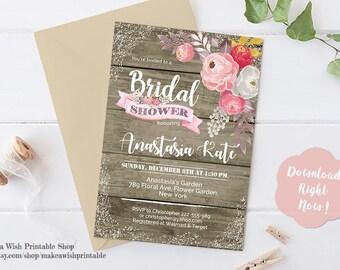 Rustic Floral Bridal Shower Invitation, Rustic Bridal Shower Invitation Template, Floral Bridal Shower Invites, Wedding Shower Invitation