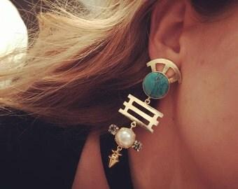 Turq gold/pearl drop earring