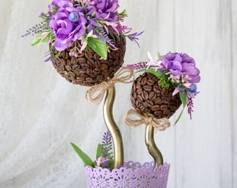 Flower topiary - Decorative tree - Coffee topiary - Tree of Happiness - Cozy home decoration