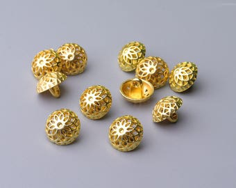 Metal Buttons-10pcs 2 sizes 12/10mm Hemispheric Button Metal Shank Buttons Gold Button