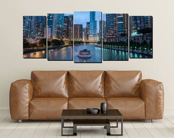 Chicago River Canvas Wall Art, River Boat, Large 5 Panel Canvas, Home Decor Wall, City Lights